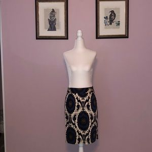 Jcrew Stretch Cotton Paisley Printed Skirt Size 2